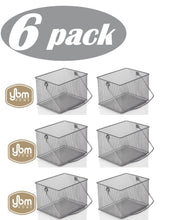 Load image into Gallery viewer, Related ybm home mesh wire food storage organizer bin basket with handle for kitchen pantry cabinets bathroom laundry room closets garage rectangle metal farmhouse mesh basket 6 pack