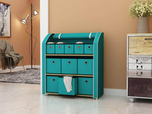 Load image into Gallery viewer, Organize with homebi multi bin storage shelf 11 drawers storage chest linen organizer closet cabinet with zipper covered foldable fabric bins and sturdy metal shelf frame in turquoise 31w x12 dx32h