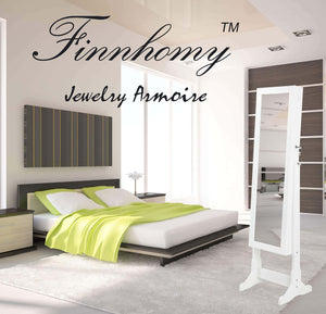 Try finnhomy lockable mirrored jewelry armoire storage organizer free standing makeup cabinet holder w led light stand for ring necklace earring cosmetics broach bracelet white