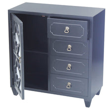 Load image into Gallery viewer, Discover heather ann creations 4 drawer wooden accent chest and cabinet clover pattern grille with glass backing 30 75h x 29 5w black