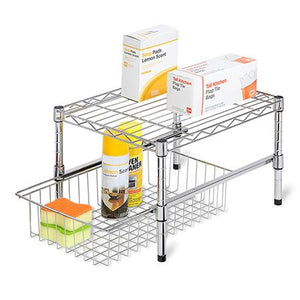 15-Inch Cabinet Organizer With Basket and Adjustable Shelf