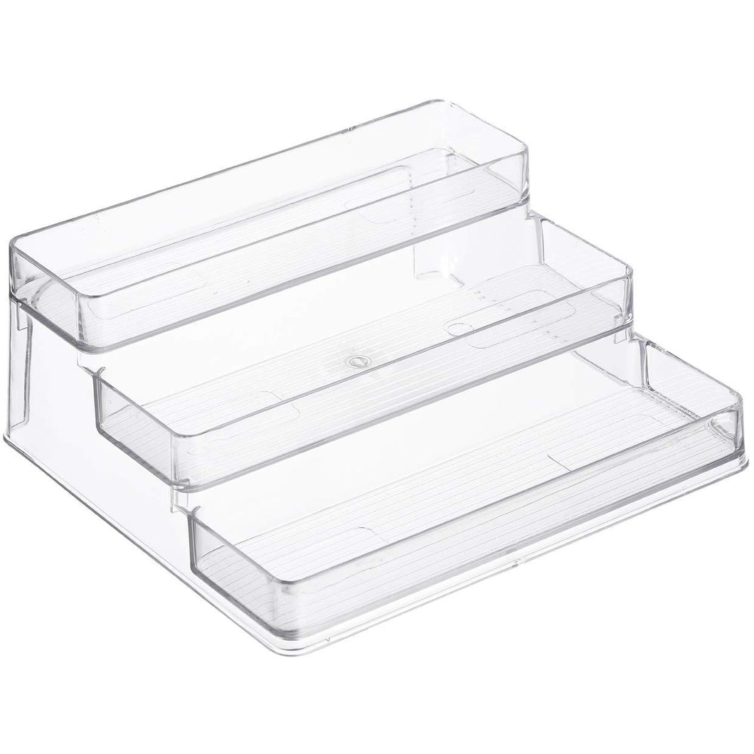 3-Tier Spice Rack Step Shelf Cabinet Organizer, Clear