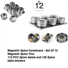 Load image into Gallery viewer, Stainless Steel Magnetic Spice Rack With Wall Mounted Spice Rack Organizer Perfect Chef Gifts For Women By LUD | Hanging Spice Rack Organizer Chef Tool Set - Pack Of 12