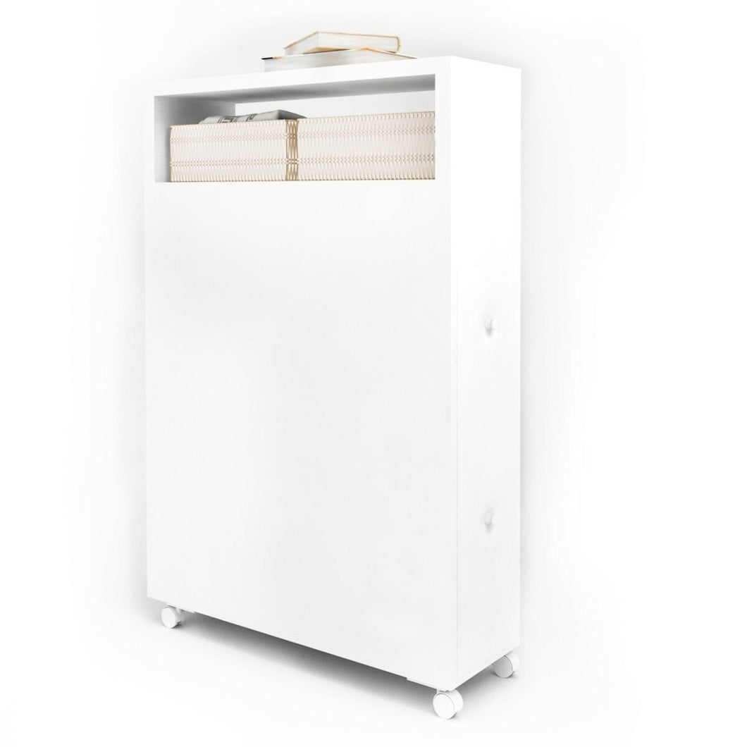 White Wooden Storage Cabinet Organizer with 4 Casters
