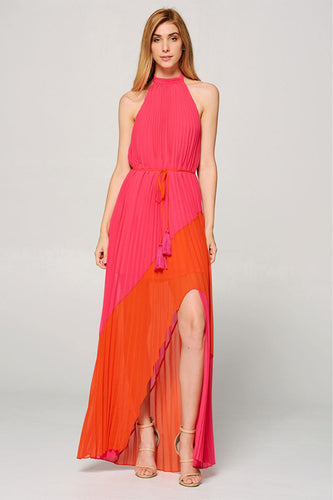 Colorblock Pleated Maxi