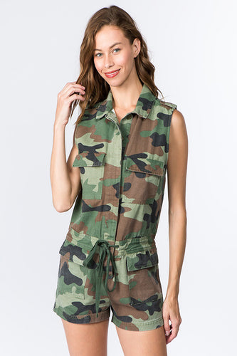 Camo Denim Romper