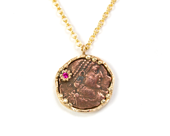 14k Roman coin necklace