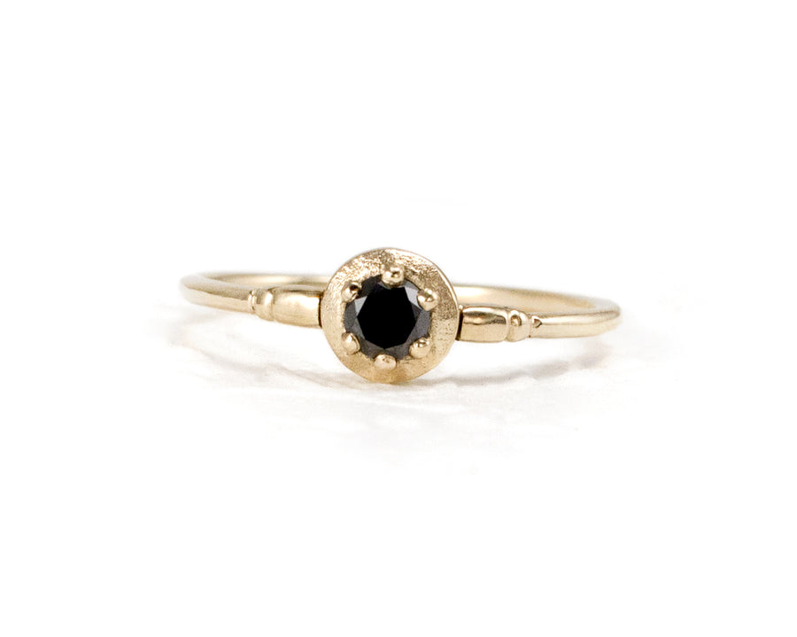 Small black diamond ring