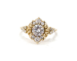 gold and diamond unique engagement ring