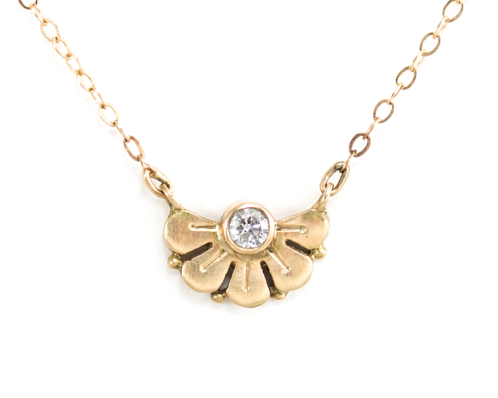 Diamond flower petal necklace