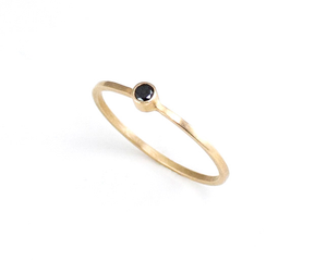 Small Black Diamond Ring minimal stacking ring