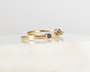 minimal black diamond ring for stacking