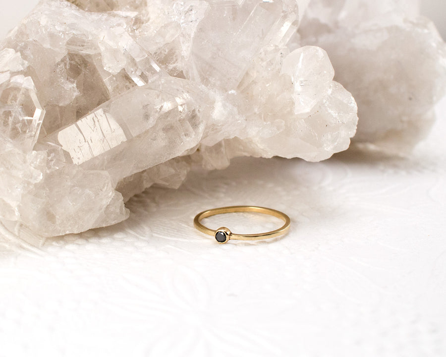 Black Diamond Bezel Ring