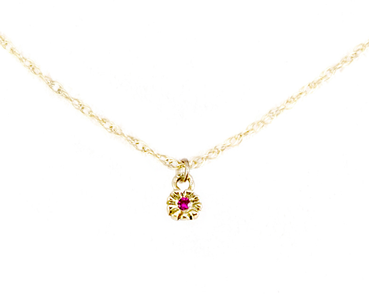 Tiny flower necklace with Ruby