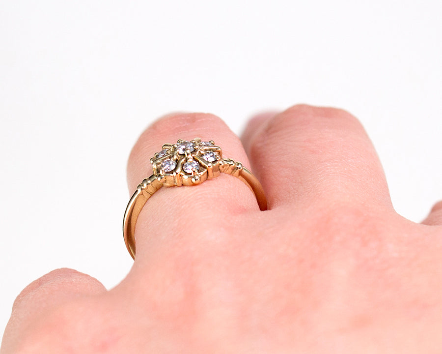 Vintage style low profile engagement rings