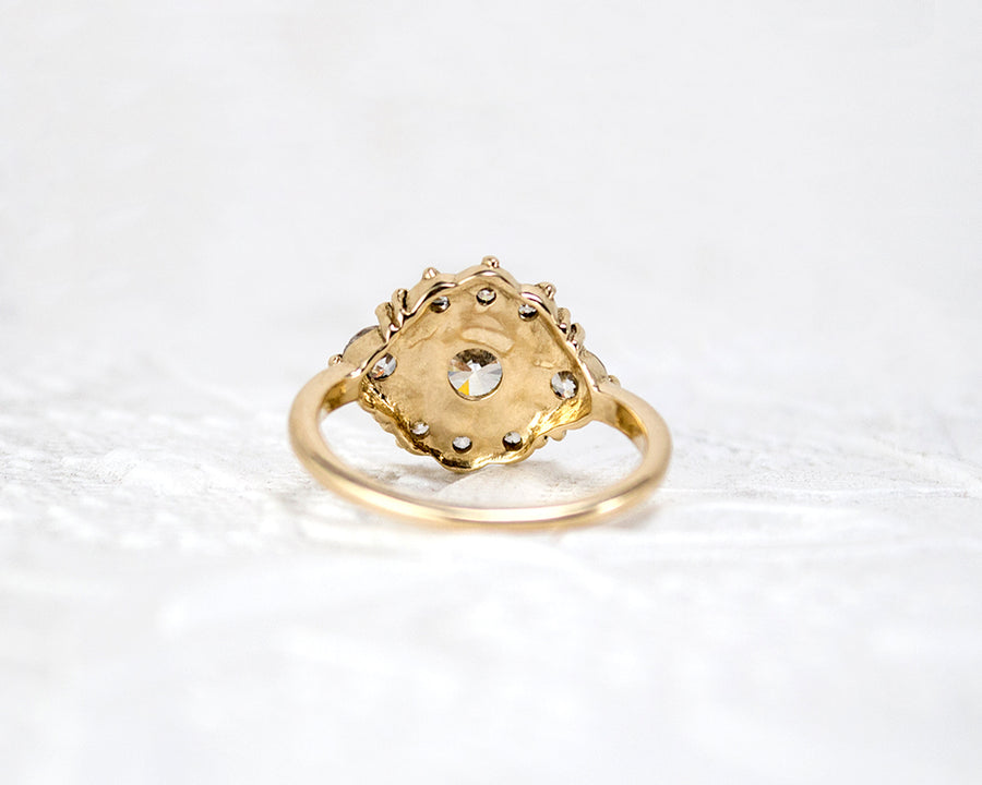 reverse side of an vintage style engagement ring