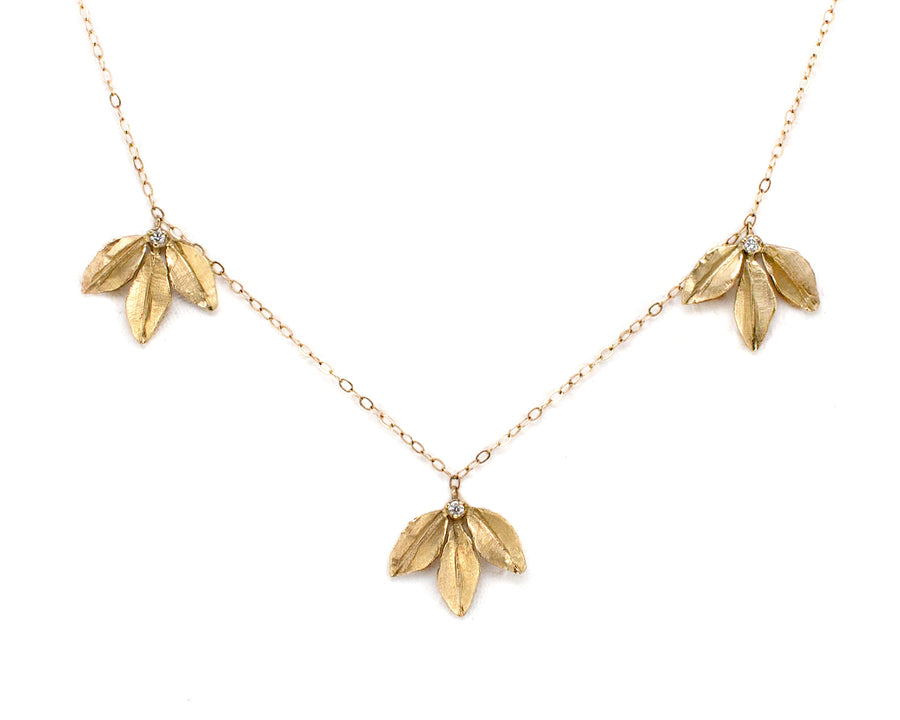 14k gold leaf necklace