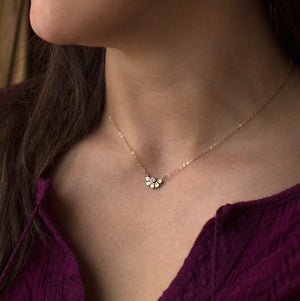 14k gold petal necklace