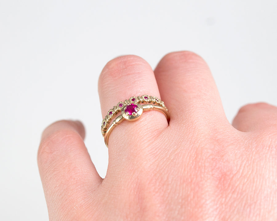unique 14k gold and ruby rings