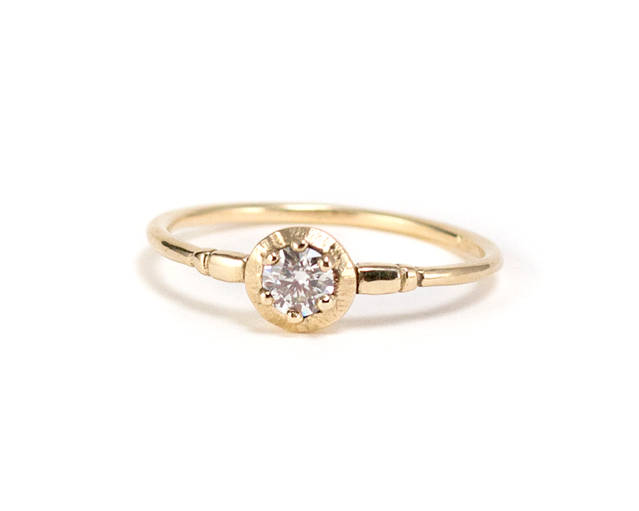 low profile diamond solitaire ring
