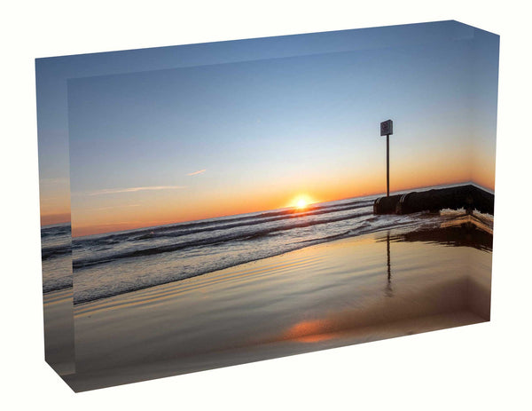 Acrylic block sunrise photo from 11th April 2020 at Manly Beach, Sydney