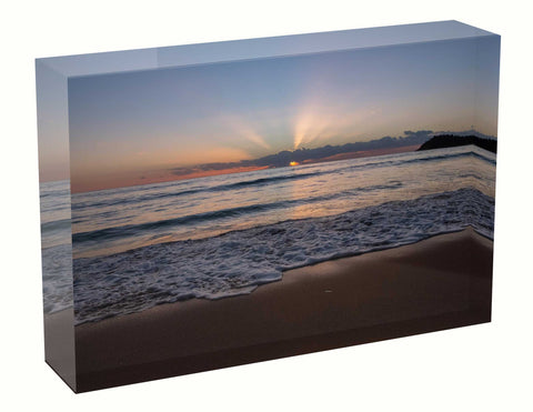 Acrylic block sunrise photo 11th April 2021 Manly beach, Sydney