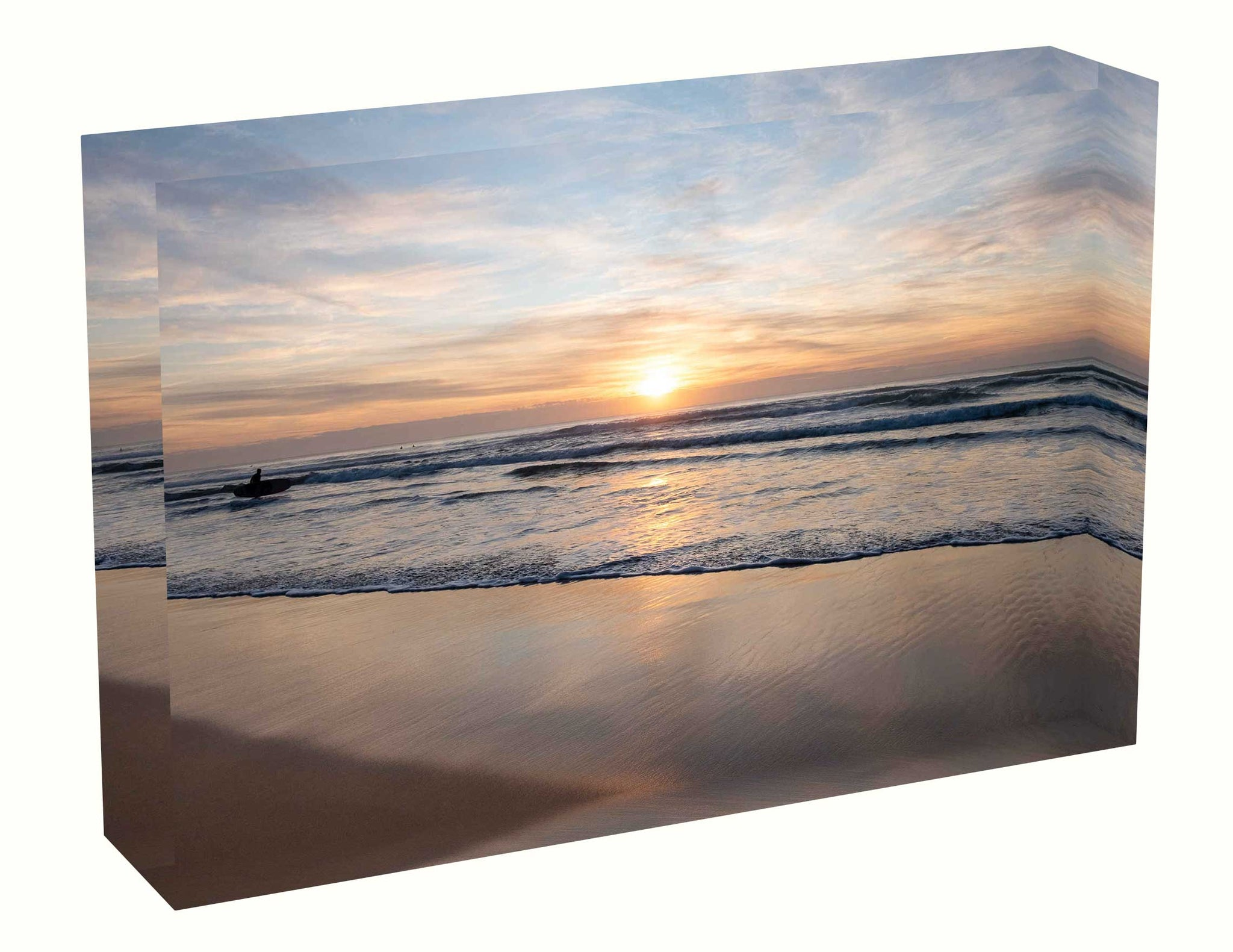Acrylic block sunrise photo from the 13 June 2020 at Manly beach in Sydney