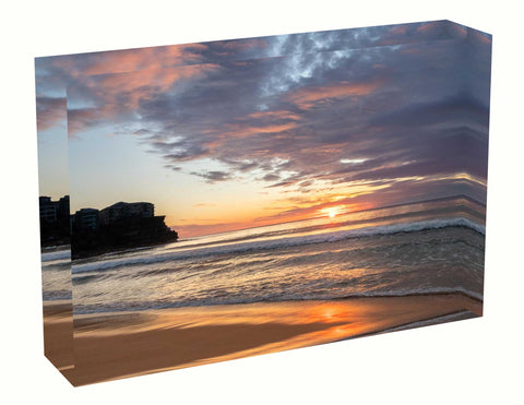 acrylic block Sunrise photo from the 16th August 2020 at Manly beach in Sydney