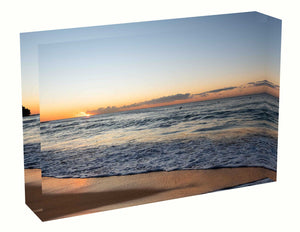 Acrylic block Birth Sunrise photo from the 17 June 2020 at Queenscliff Beach in Sydney