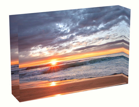 Acrylic block sunrise photo 18th August 2020 Manly beach, Sydney