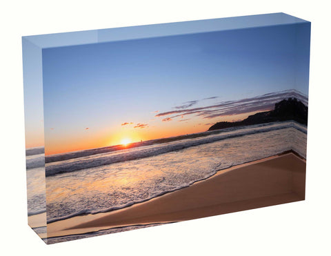Acrylic block sunrise photo 19 August 2020 Manly beach, Sydney