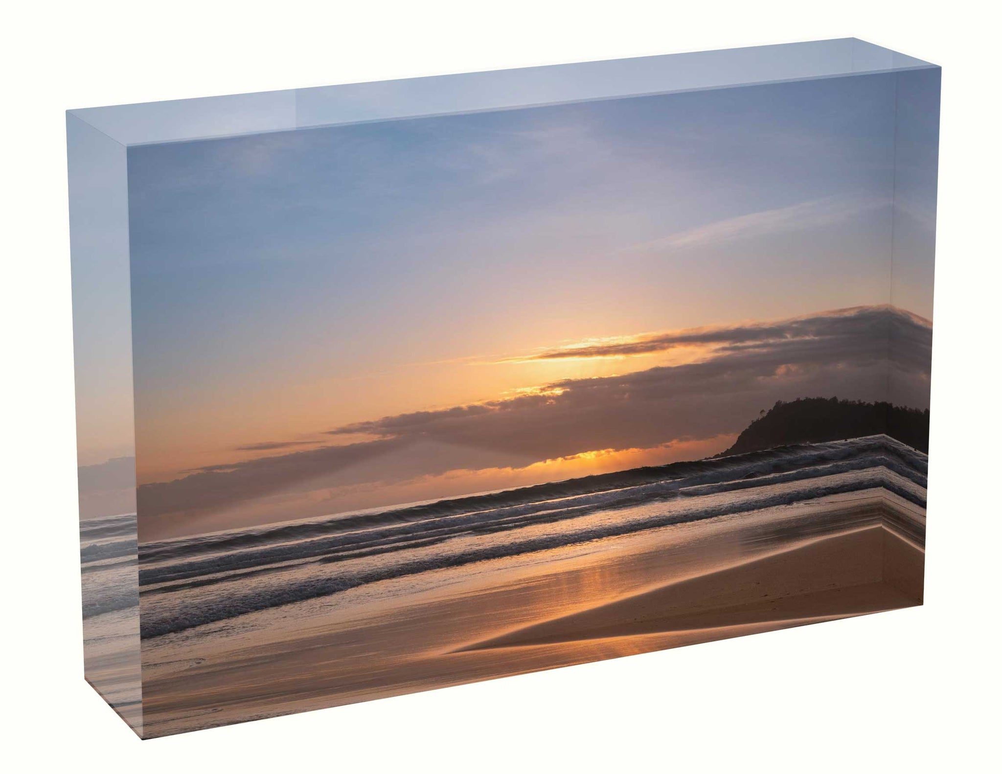 Acrylic block sunrise photo 1 March 2020 Manly beach, Sydney