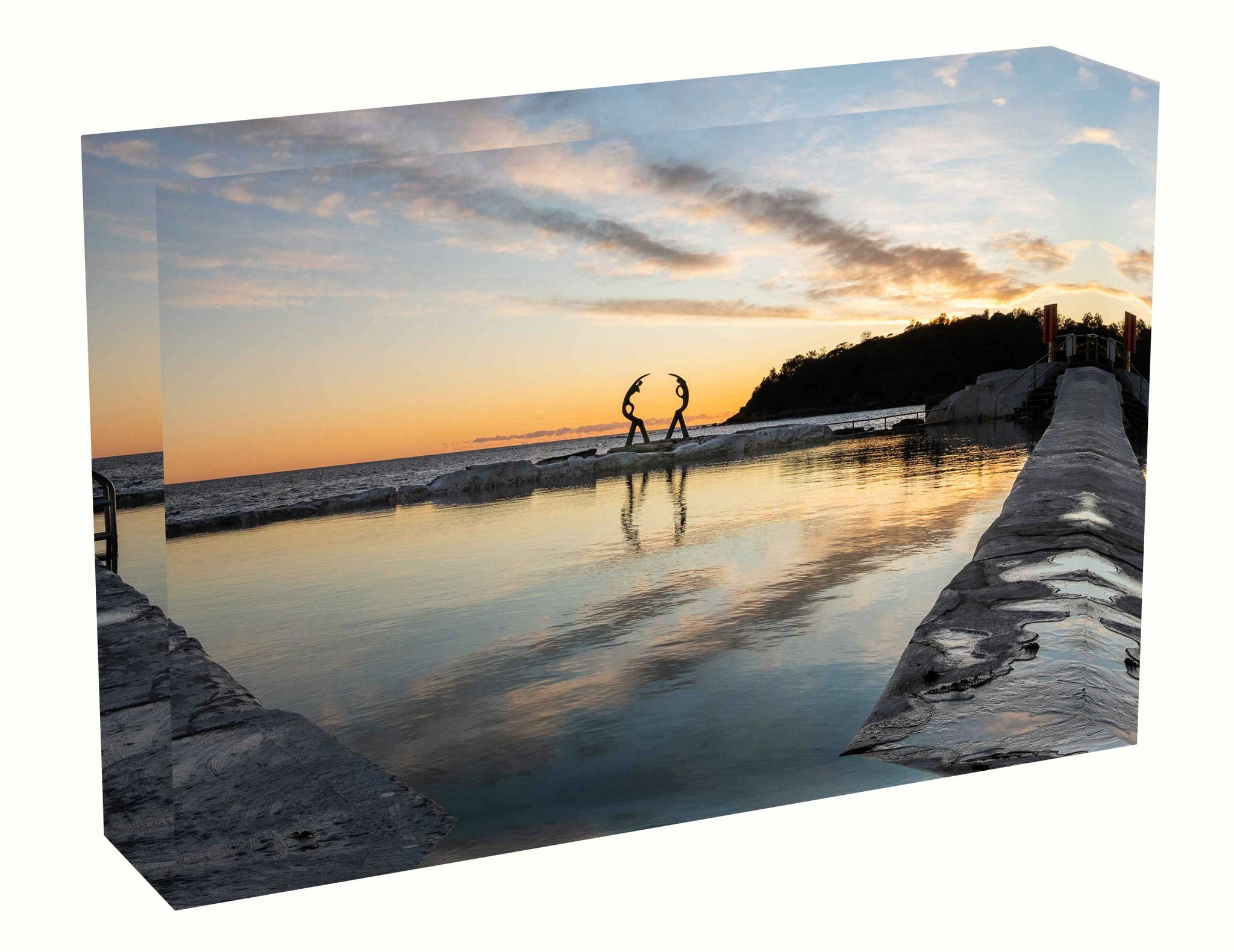 Acrylic block Sunrise photo from 2nd May 2020 at Fairy Bower Pool, Manly, Sydney