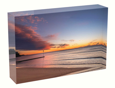 Acrylic block sunrise photo 20th August 2020 Manly beach, Sydney