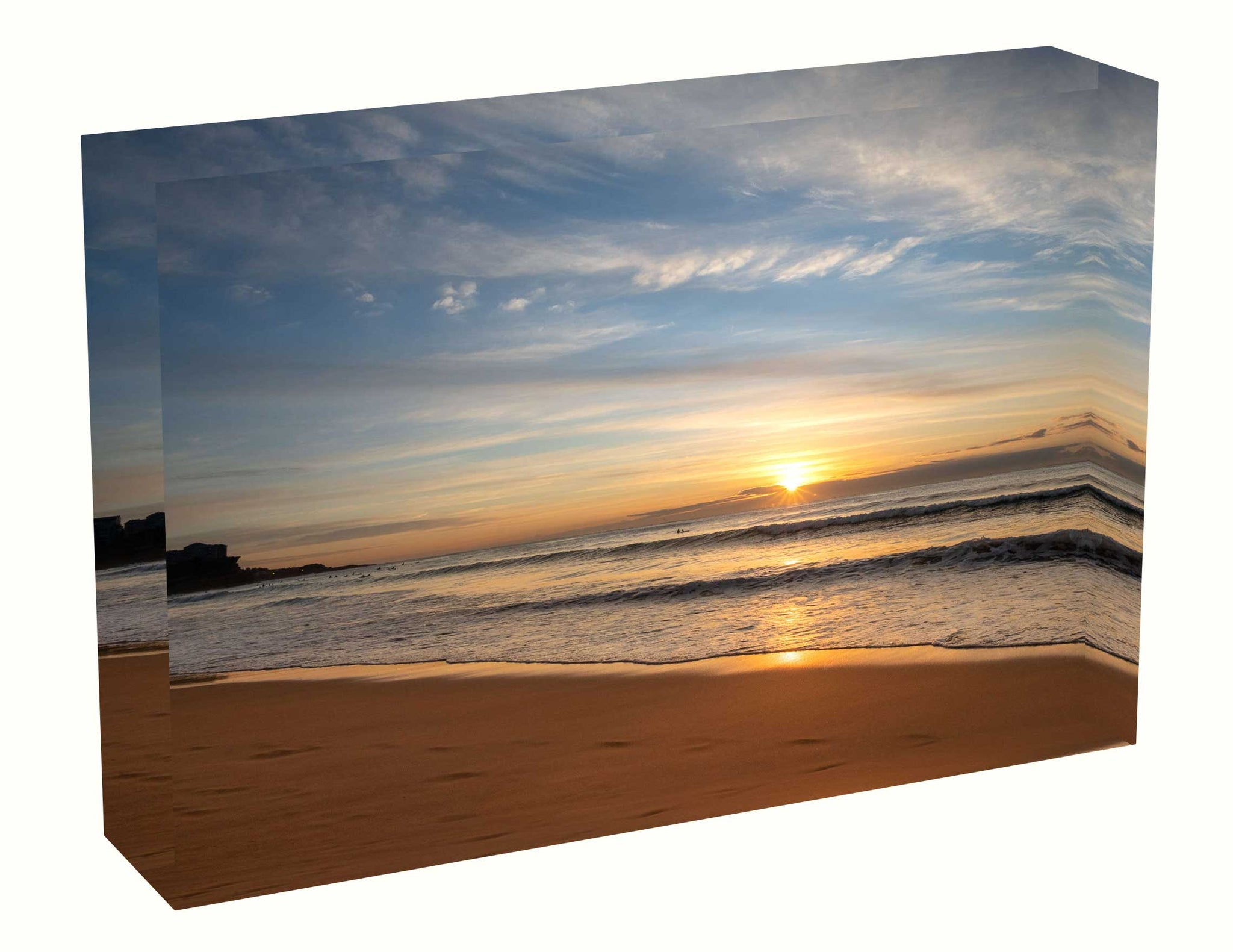 Acrylic block sunrise photo 22th July 2020 Manly beach, Sydney