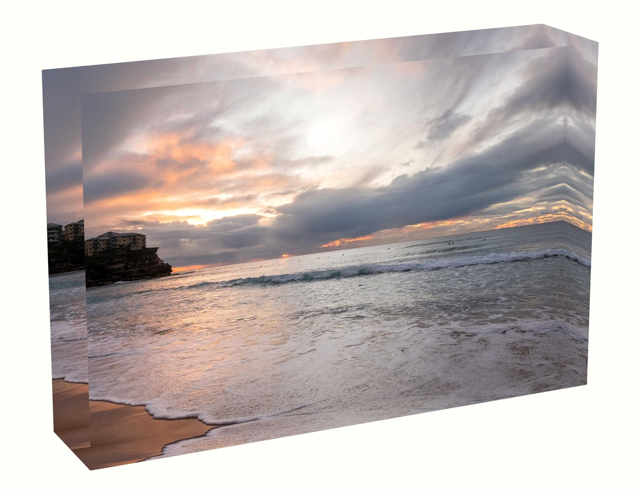 Acrylic block Birth Sunrise photo from the 22 June 2020 at Manly beach in Sydney