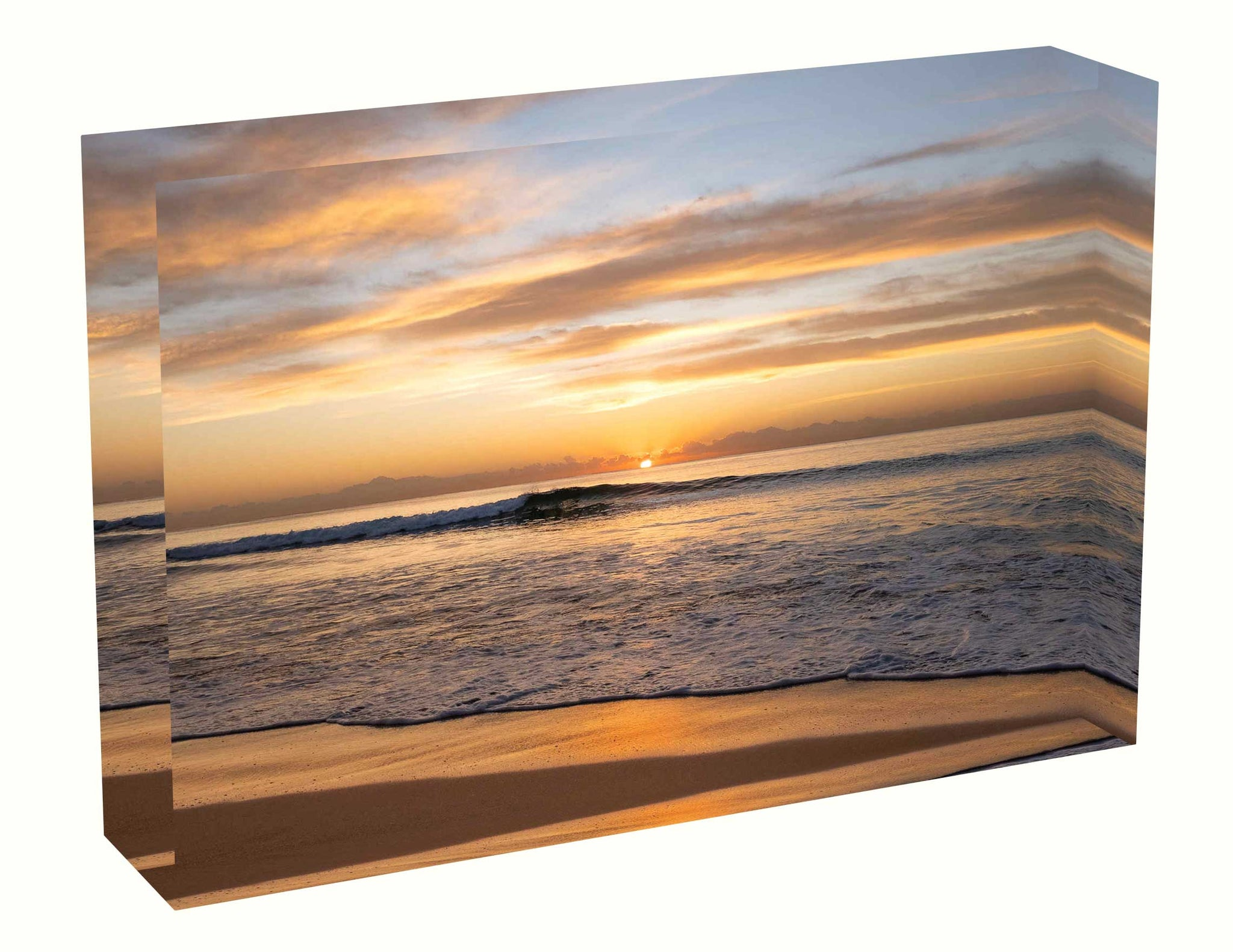 Acrylic block Sunrise photo from the 23rd April 2020 at Manly Beach, Sydney