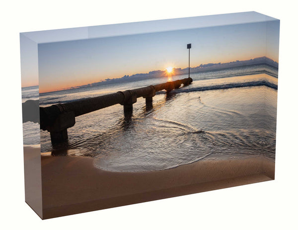 Acrylic block sunrise photo 23 August 2020 Manly beach, Sydney