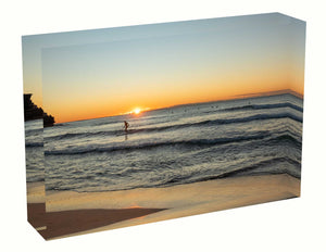 Acrylic block sunrise photo from the 24th June 2020 at Manly beach in Sydney