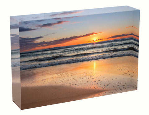 Acrylic block sunrise photo 250th August 2020 Manly beach, Sydney