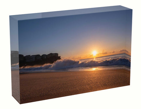 Acrylic block Sunrise photo from the 26th April 2021at Manly beach in Sydney