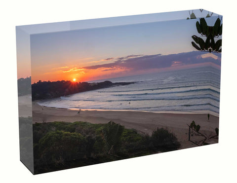 Acrylic block sunrise photo 28th April 2021 Freshwater Beach Manly, wedding gift idea