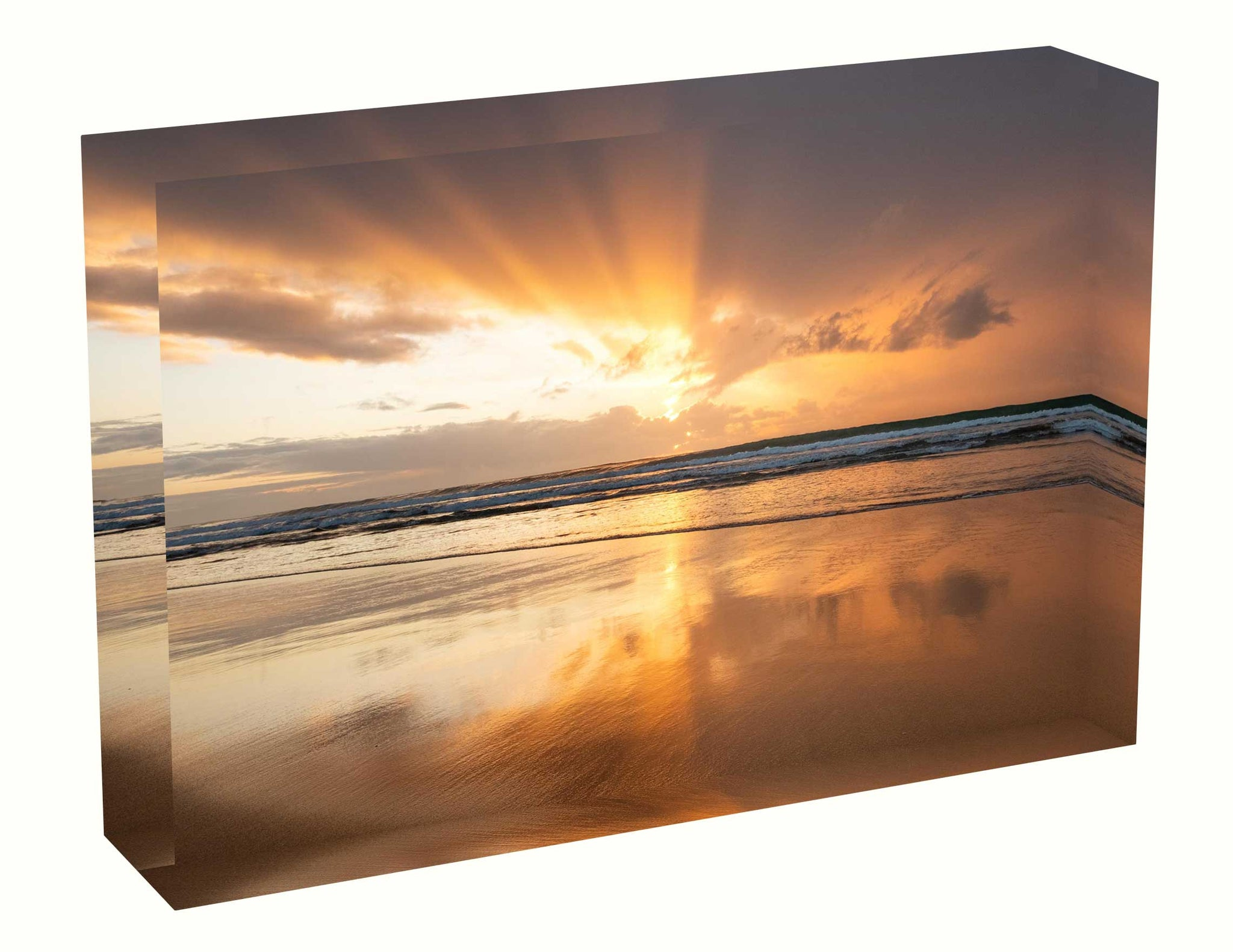 Acrylic block Sunrise photo from the 28 June 2020 at Manly Beach in Sydney