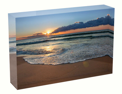 Acrylic block sunrise photo 28th August 2020 Manly beach, Sydney