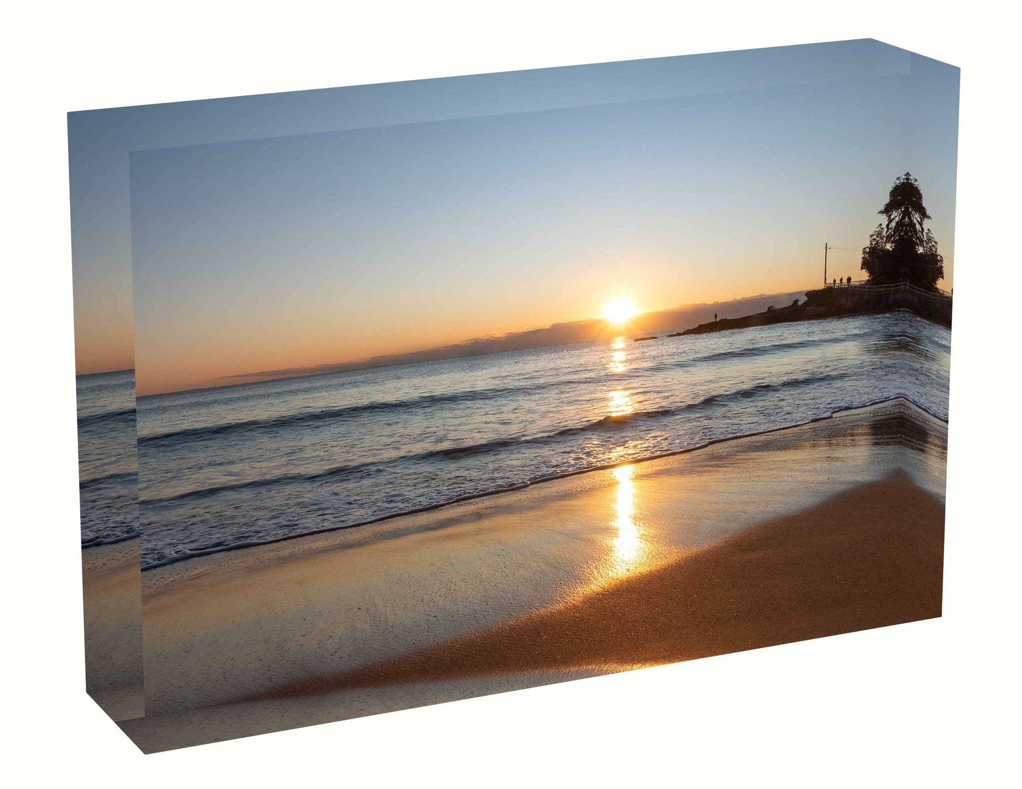 Acrylic block sunrise photo from 3rd May 2020 at Manly beach, Sydney