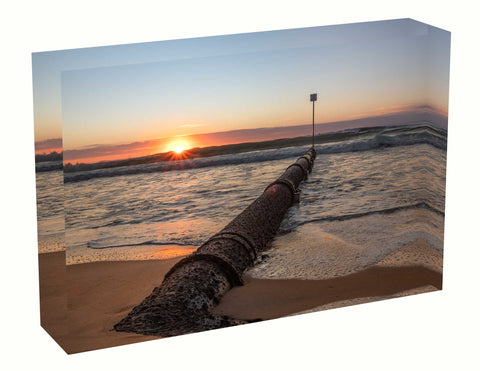 Acrylic block sunrise photo 4th August 2020 Manly beach, Sydney