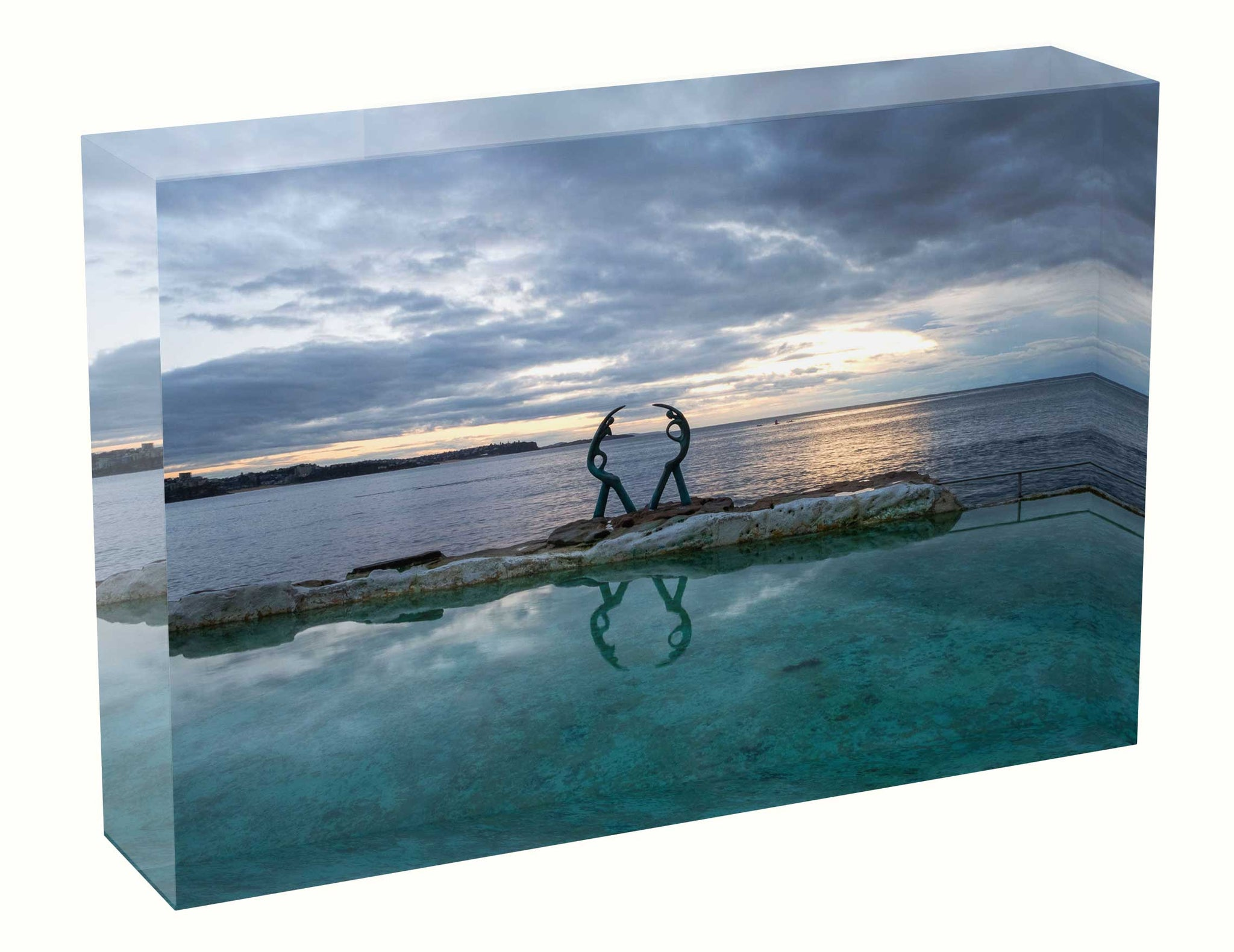 Sunrise photo 4th July 2020 Fairy Bower Pool Acrylic Block
