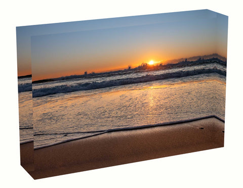 Acrylic block sunrise photo 6 August  2020 Manly beach, Sydney