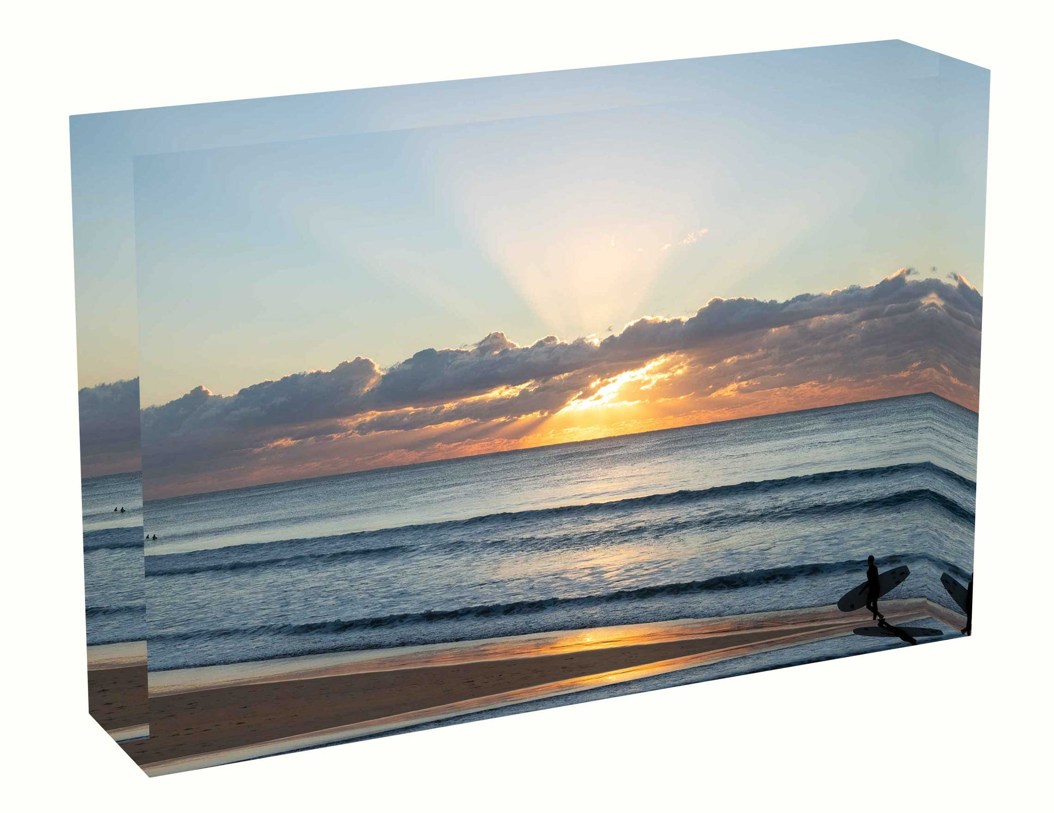 Acrylic block sunrise photo from 6th June 2020 at Manly beach, Sydney