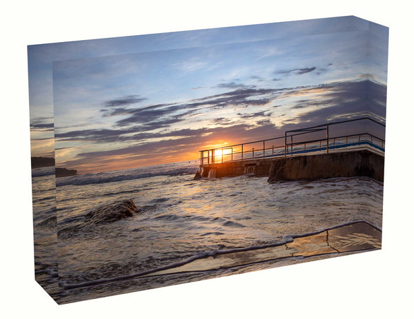 Acrylic block Sunrise photo from 7th May 2020 at Curl Curl beach pool, Sydney
